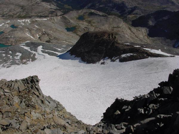 Looking down from the top of Lyell Glacier; photo courtesy of Bob Burd